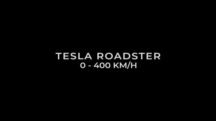 Tesla Roadster accelerates from 0 to 400 km / h